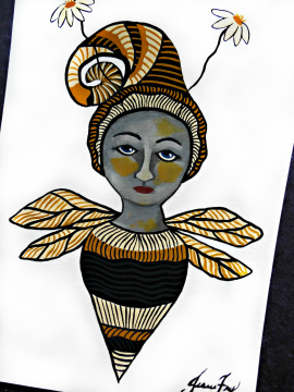 Empowered Bee Girl Original Painting 5x7 Whimsical Illustration