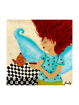 Red Haired Fairy with Freckles and her Coffeepot - Original Painting 8x8 Canvas