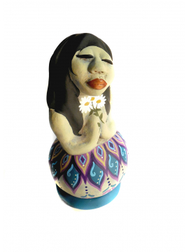 Original Gourd and Clay Sculpted Art Doll titled Kindness Number 1 in Series