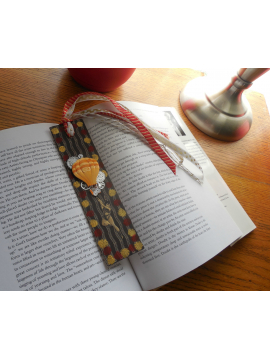 For the Book Lover - Original Mixed Media Circus Bookmark with Ribbon Tassel