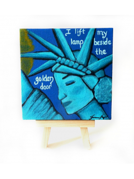 Lady Liberty Original Canvas Painting 4x4 Easel included Resistance Art