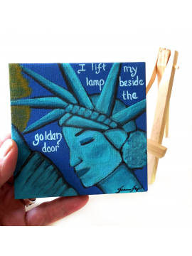 Statue of Liberty Original Canvas Painting 4x4 Easel included Resistance Art