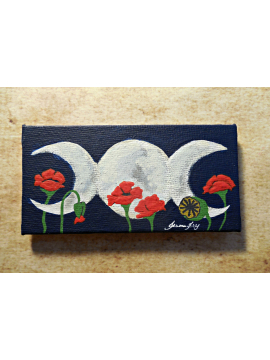 Poppies of the Maiden Mother and Crone OOAK Magnet Art Triple Moon Goddess