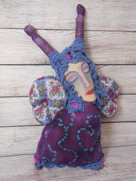 Puple Butterfly Woman an OOAK Art Doll with Painted Muslin Face and Batik