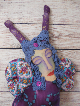 Butterfly Woman an OOAK Art Doll with Painted Muslin Face and Purple Batik