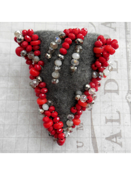 Artisan Beaded Scarf Pin - Grey Red and Clear Crystal - Wearable Art Brooch