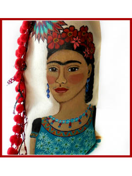 Hand Painted Frida Kahlo Wine Bottle Bag - Original Painting on Natural Cotton