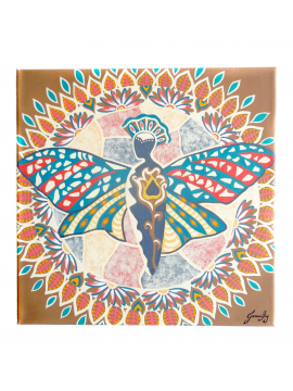 Butterfly Mandala - Original Painting 12x12 Canvas - titled The Garden of Bliss