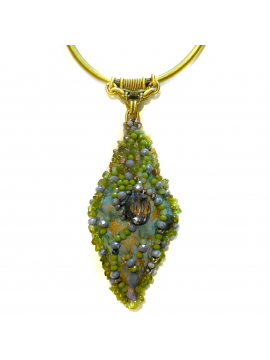 Chartreuse and Smokey Grey Beaded Pendant Knotted Necklace OOAK Wearable Art