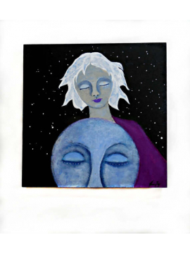 Celestial Woman and Moon Original Painting on Wood titled Moon Matters 10x10