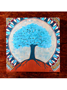 Tree of Life Mandala Original Painting on Wood 10x10 Sacred Tree Sacred Moon