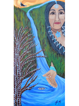 Water is Life Native Woman at Waterfall Original Painting on Wood 12x24