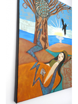 Side View of Native Woman Sunrise on Sacred Lands Original Painting 11x14