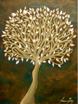 Tree of Life Original Painting on Wood Panel 6x8 Shades of Brown