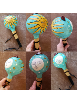 Sun and Moon OOAK Gourd Rattle