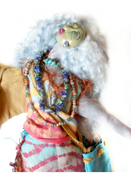 Cloth and Clay Art Doll Goddess Sage Woman OOAK for Womens Empowerment