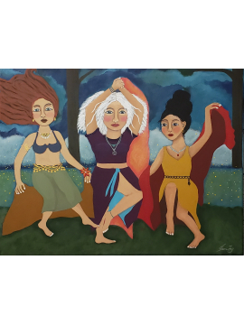 Firefly Dance - Original Painting on Canvas 14x18 - Women Dancing