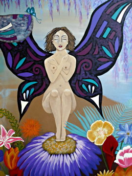 Metamorphosis of a Woman with Butterfly Wings Folk Painting by Jeanne Fry