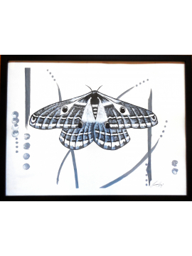 Black and White Painting Modern Contemporary Emperor Moth Framed 18x24