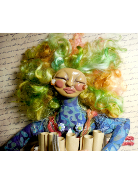 OOAK Cloth and Clay Art Doll with Pink and Green Hair for Womens Empowerment