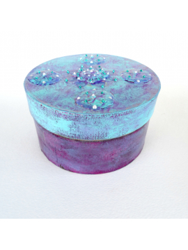 Handmade Round Prayer Box with Lid Textured Paper Mache with Liquid Pearl