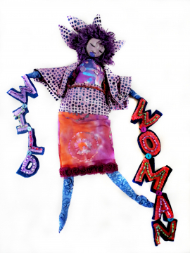 Wild Woman Art Doll Original Sculpt Clay and Cloth Purple Batik and Beaded Felt