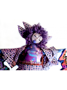 Wild Woman Art Doll OOAK Clay and Cloth Purple Batik and Beaded Felt
