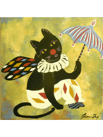 Circus Kitty - Whimsical Illustrated Character