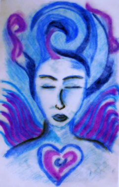 Touch Drawing Painting of Angel of Peace