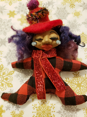 Yule Ornament - Warm Fire on a Chilly Morning - Miniature Spirit Doll