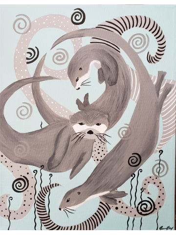 Otters at Play - Original Canvas Painting 11x14