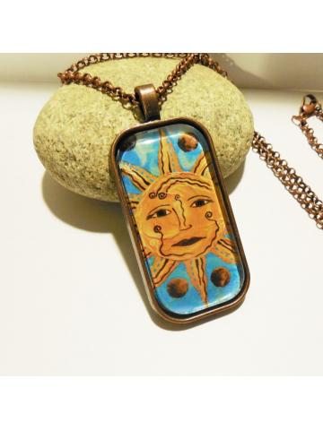 Folk Art Sun Face Art Print Pendant Bronze Finish Metal and Glass with Rolo Style Chain by Jeanne Fry