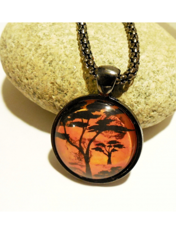 African Landscape Necklace Fiery Sunrise Glass Dome Pendant on 20 inch Snake Chain Wearable Art