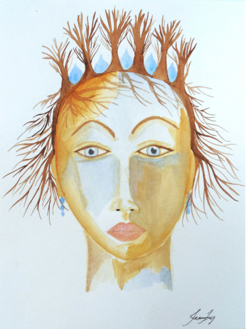 The Goddess of Starting Over Original 9x12 Watercolor Painting Goddess Art for Women's Empowerment by Jeanne Fry