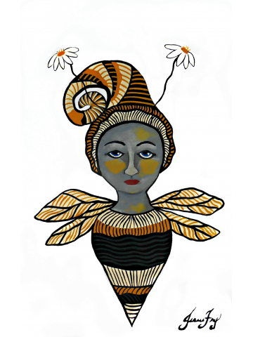 Empowered Bee Girl Original Painting on Paper 5x7