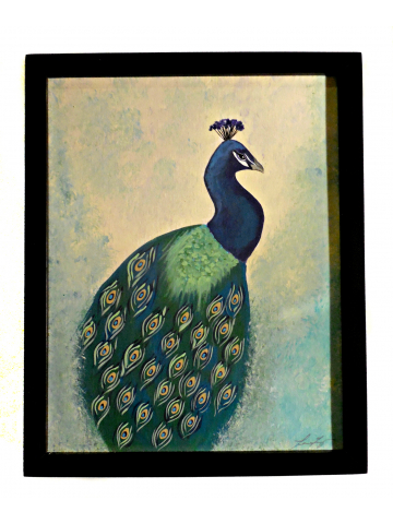 Pretty Peacock Original Painting on Canvas Panel Framed and Ready to Hang 11x14 Vintage Feel