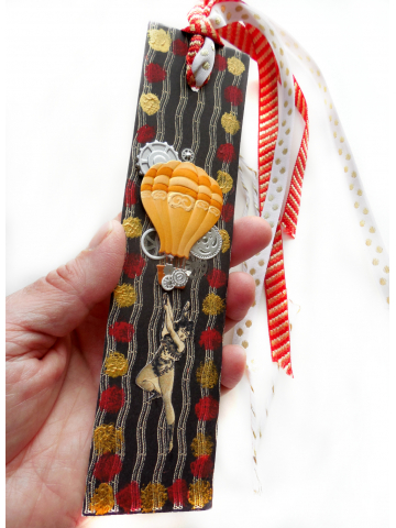 Holiday Gift for the Book Lover or Circus Collectors - Original Mixed Media Circus Bookmark with Ribbon Tassel