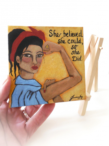 Resistance Art Woman with Raised Arm Original Canvas Painting 4x4 with Display Easel Included
