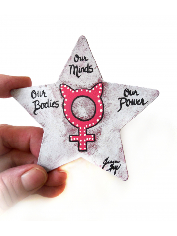 Collectible Resistance Art Magnet with Pink Female Venus Symbol - Our Bodies Our Minds Our Power