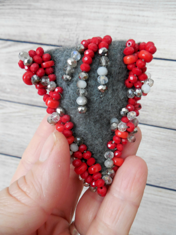 Grey and Red Beaded Scarf Pin - Artisan Crafted Wearable Art Brooch