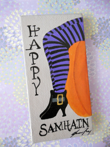 Happy Samhain - Original Magnet Art - OOAK Halloween Canvas Painting