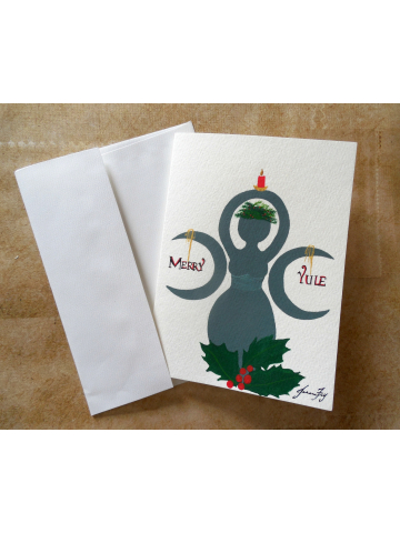 Merry Yule Goddess - Original Painted Greeting Card with Envelope - 5x7