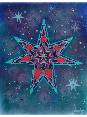 Fairy Star in a Starry Sky Original Painting on Flat Canvas Panel 11x14 by Jeanne Fry
