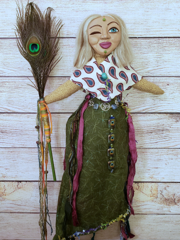 The Peacock Witch - an OOAK Spirit Doll with Peacock Feather Staff