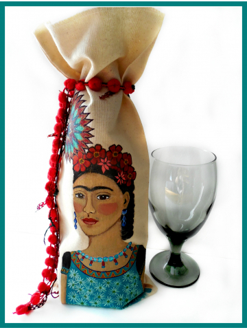 Hand Painted Frida Kahlo Wine Bottle Bag with Red PomPom Tie - Original Painting on Natural Cotton