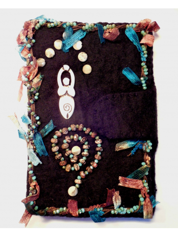 Goddess Beaded Felt Kindle Cover with Crazy Lace Agate and Leopard Skin Jasper