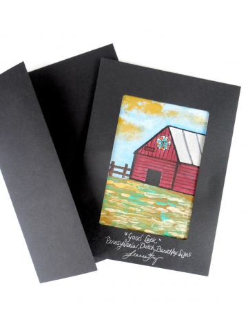 Original Painted Red Barn Landscape Greeting Card with Good Luck Sign 5x7 by Jeanne Fry