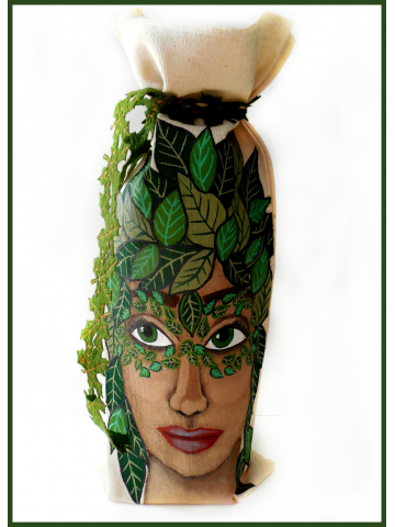 Hand Painted Greenwoman Wine Bottle Bag with Leaf Trim Tie - Original Painting on Natural Cotton