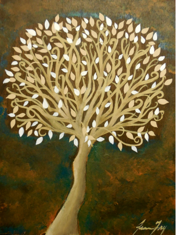 Illuminate a Tree of Life Original Painting on Wood Panel 6x8 Shades of Browns by Jeanne Fry