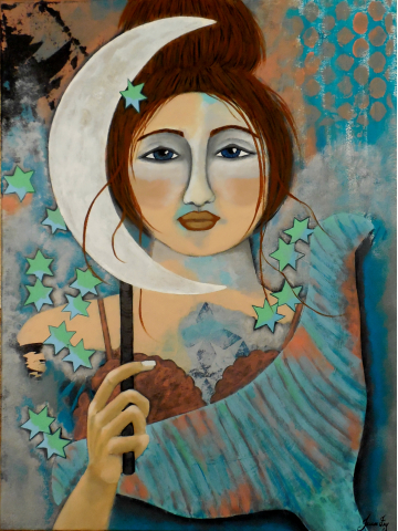 The Mermaid and Patina Moon is an Original Contemporary Folk Canvas Painting 18x24 by Jeanne Fry